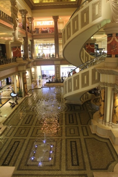 Fountains and ornate staircases Inside Caesar's Palace