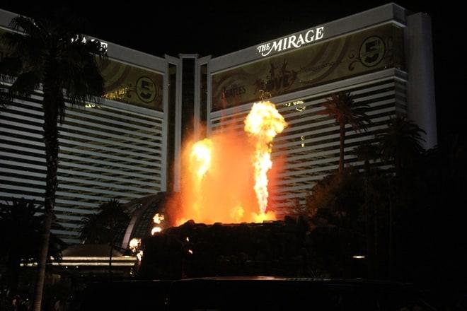 The Mirage volcano erupting in Las Vegas