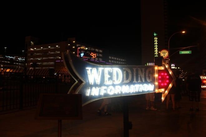 Wedding information neon museum sign