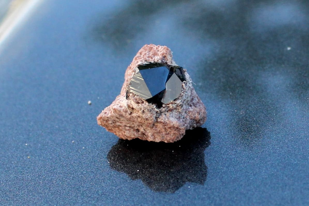 A garnet attached to rock from Garnet Fields Rockhound Area in Nevada