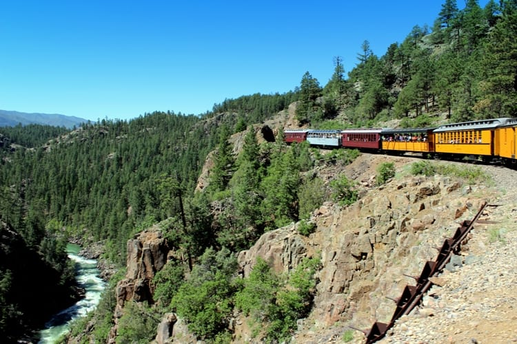 Durango Silverton Narrow Gauge Railroad winding through the mountains