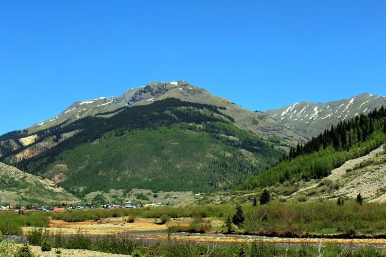View of the mountains in Silverton on the Durango to Silverton train ride