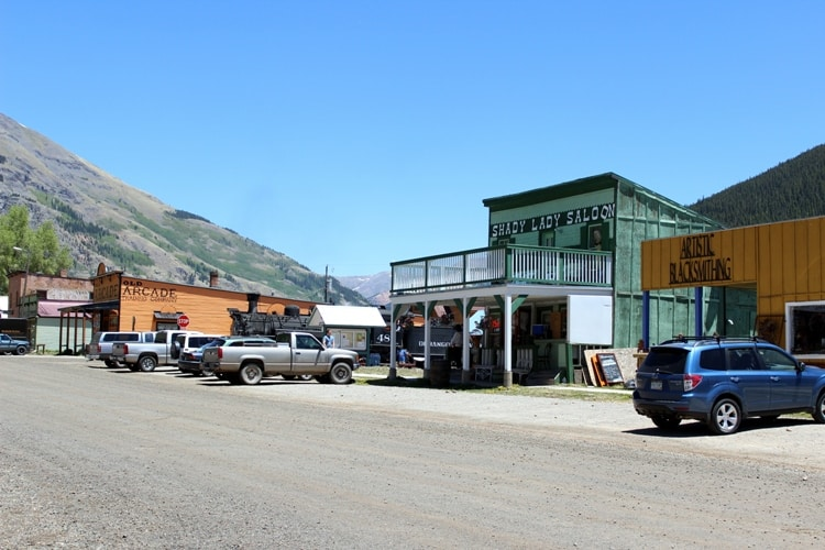 Saloons and restaurants lining the main road in Silverton, Colorado