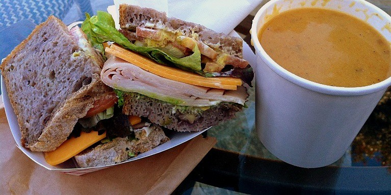 turkey sandwich and butternut squash soup