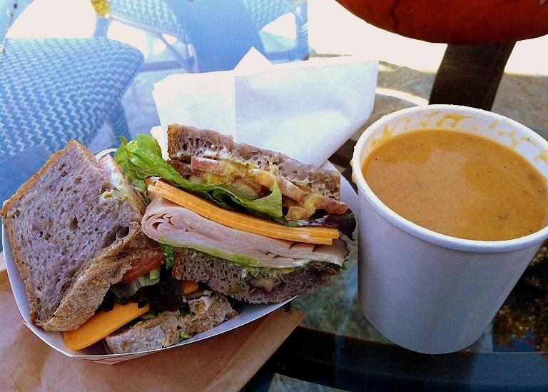 turkey sandwich and butternut squash soup