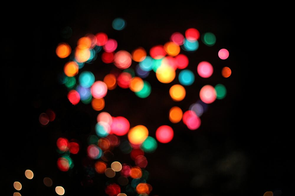 Blurred Christmas lights in the shape of a heart