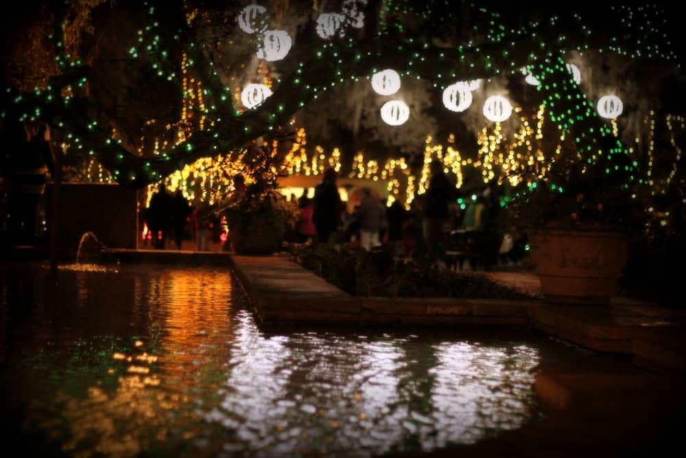 water, courtyard, and lights at Bellingrath Gardens