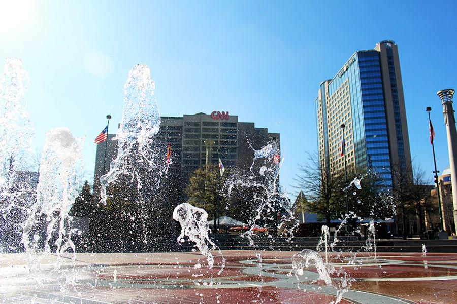 Centennial Park fountains and CNN Center