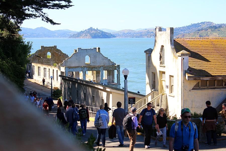 The walk up to Alcatraz prison
