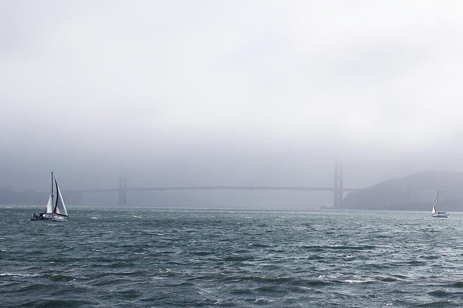 San Francisco bay golden gate bridge in the fog