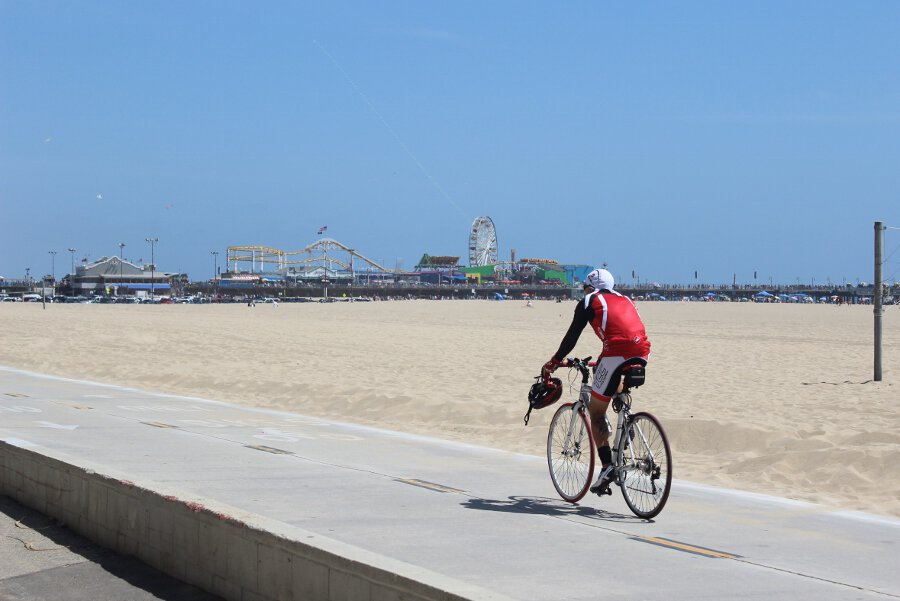 Bicyclist on Santa Monica beach