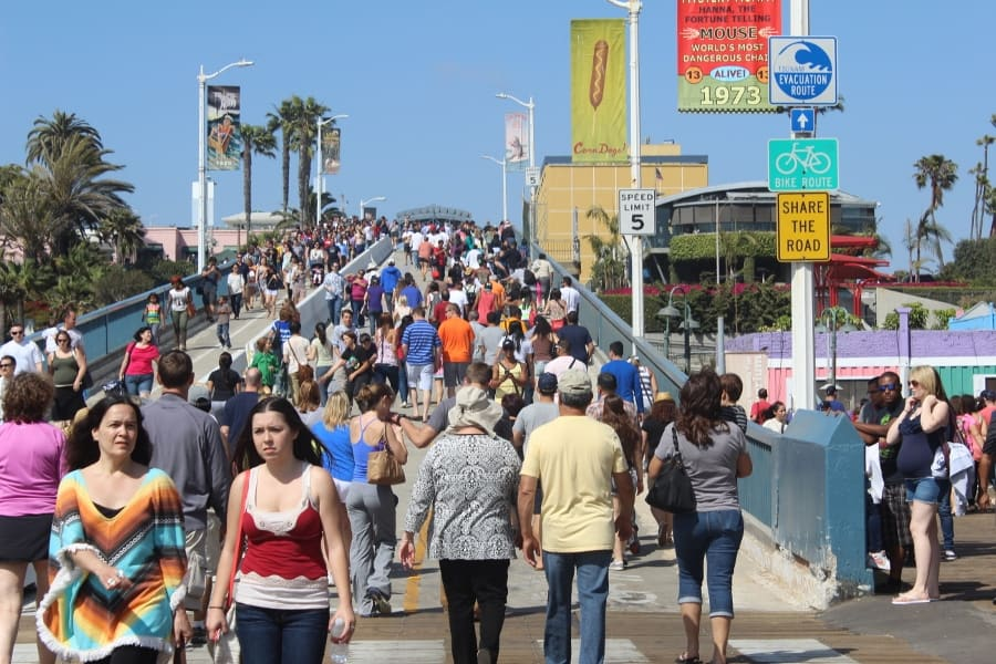 Crowds of people at Santa Monica Pier