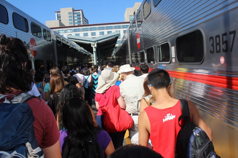 crowded Caltrain station San Francisco