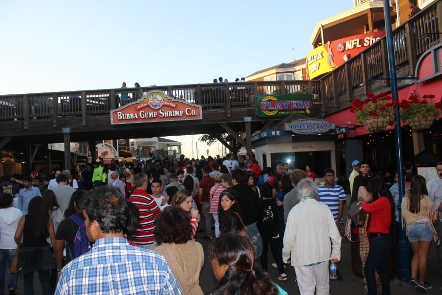 Crowded Fisherman's Wharf on Independence Day