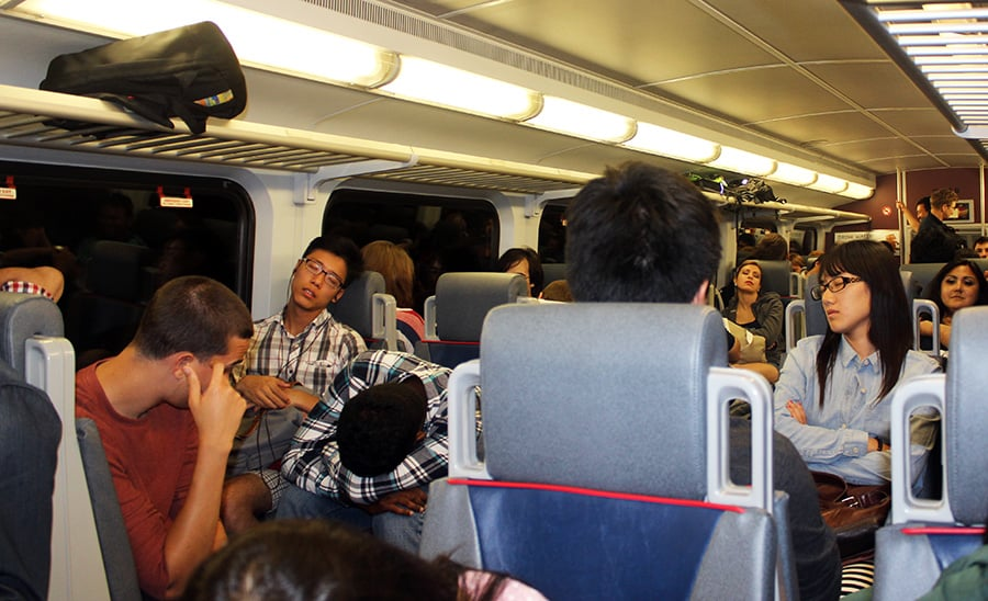 Everyone sleeping on Caltrain