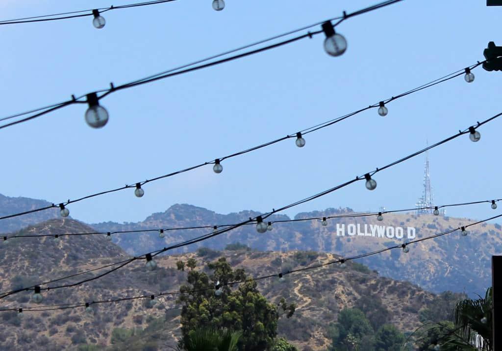 Hollywood sign shot through lights