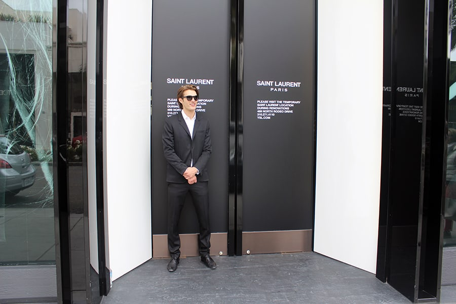 Model in suit on Rodeo Drive