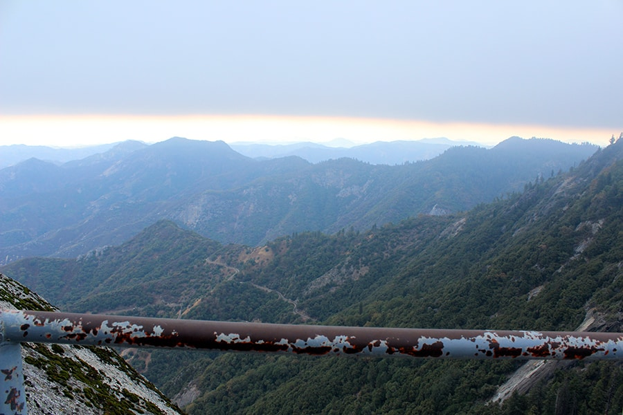 Metal railing and beautiful view at Moro Rock