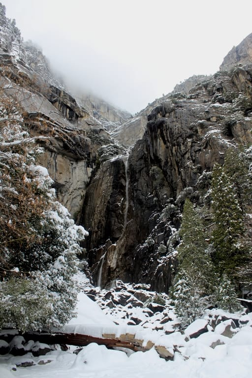 Yosemite fall in winter, dry