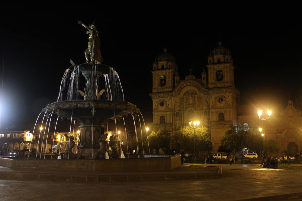 Church in Plaza de Armas at night