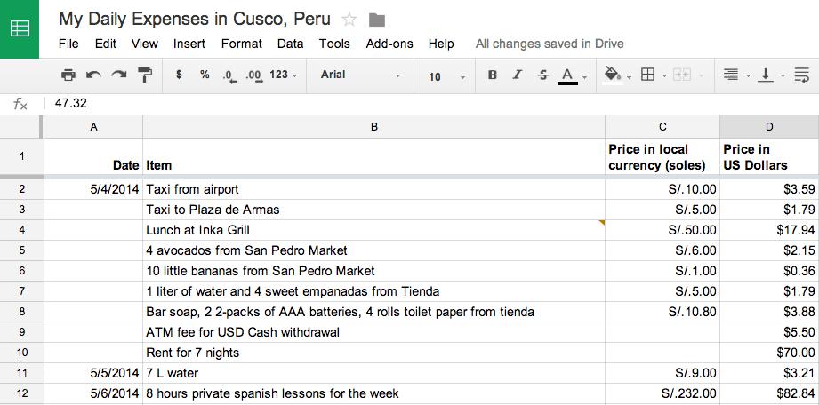 Cusco Peru spending log spreadsheet screenshot
