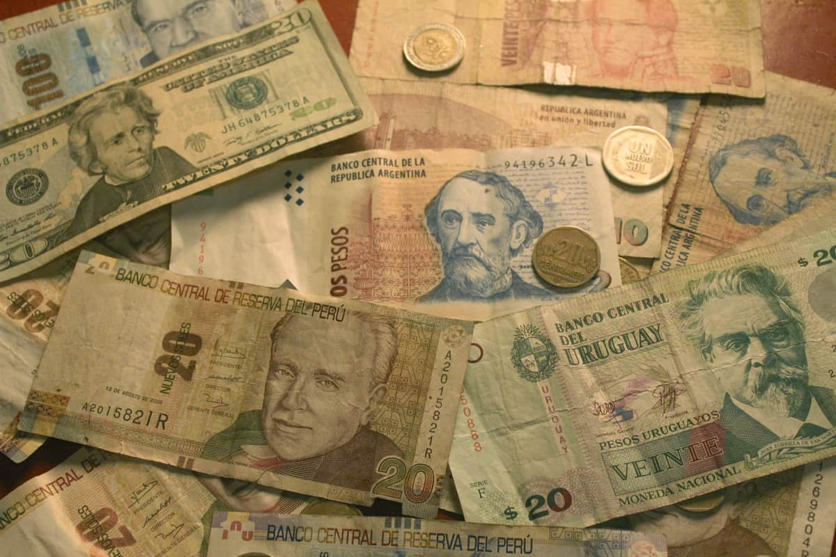 Peruvian soles, Argentine pesos, Uruguayan pesos, American dollars