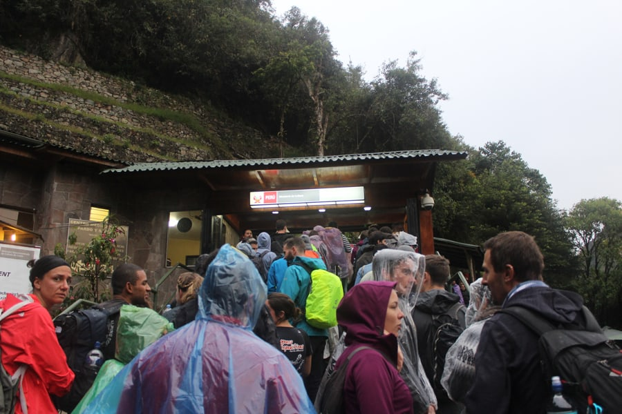 Tourists lined up at Machu Picchu gate