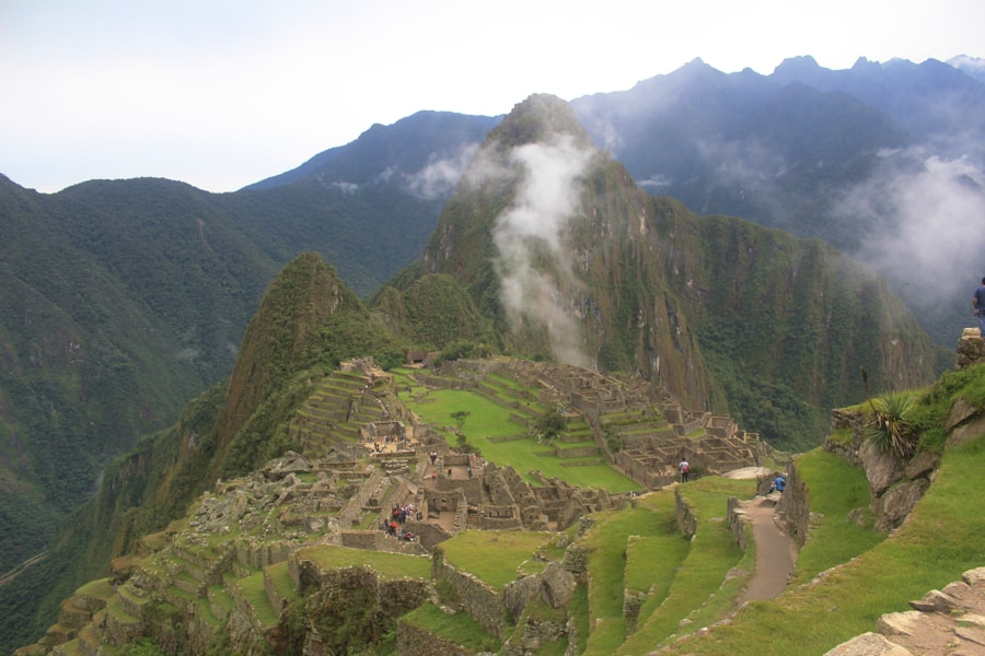 Clouds float over Huayna Picchu