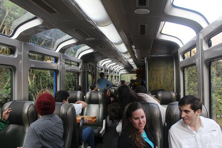 Inside the PeruRail Vistadome train