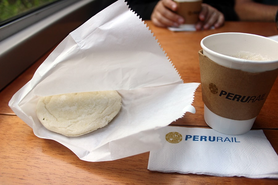 Snacks in the PeruRail Vistadome train
