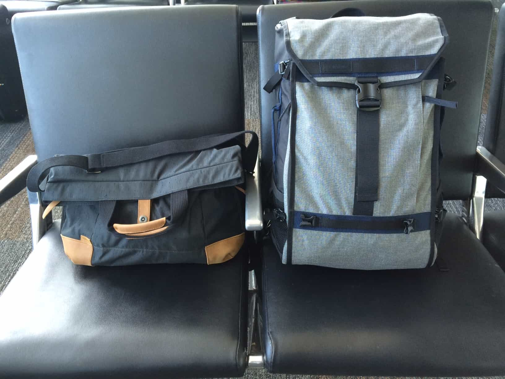Timbuk2 Aviator backpack and Monterey messenger bag at airport