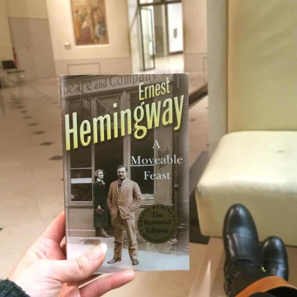 A Moveable Feast book by Ernest Hemingway inside the Louvre
