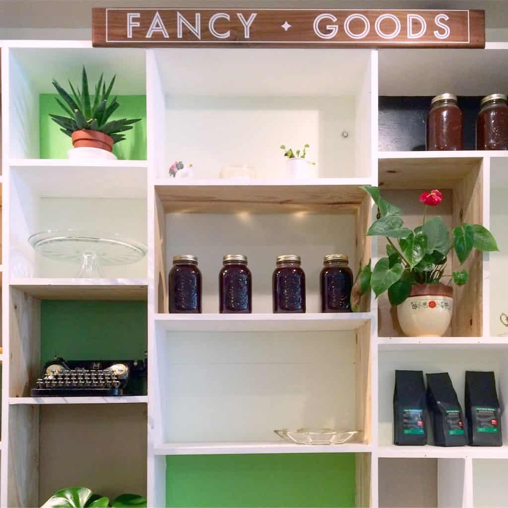 Fancy Goods shelf in Fantail Bakery in Toronto