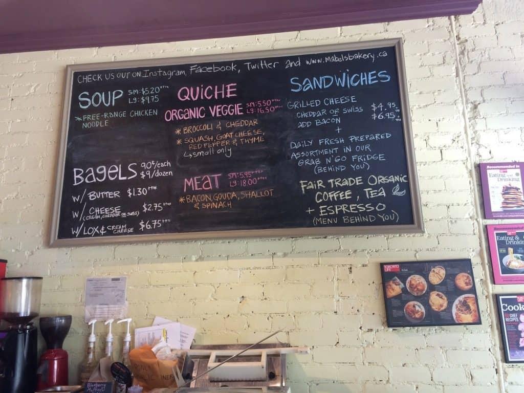 Mabel's Bakery Toronto menu on wall