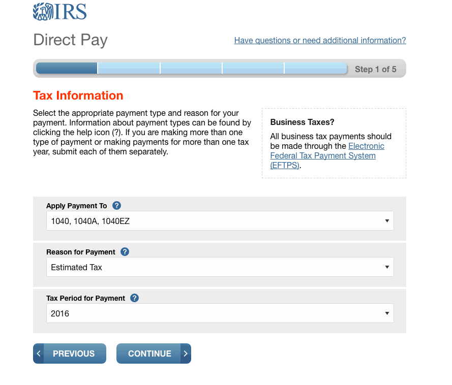 How to pay quarterly estimated taxes online step 2