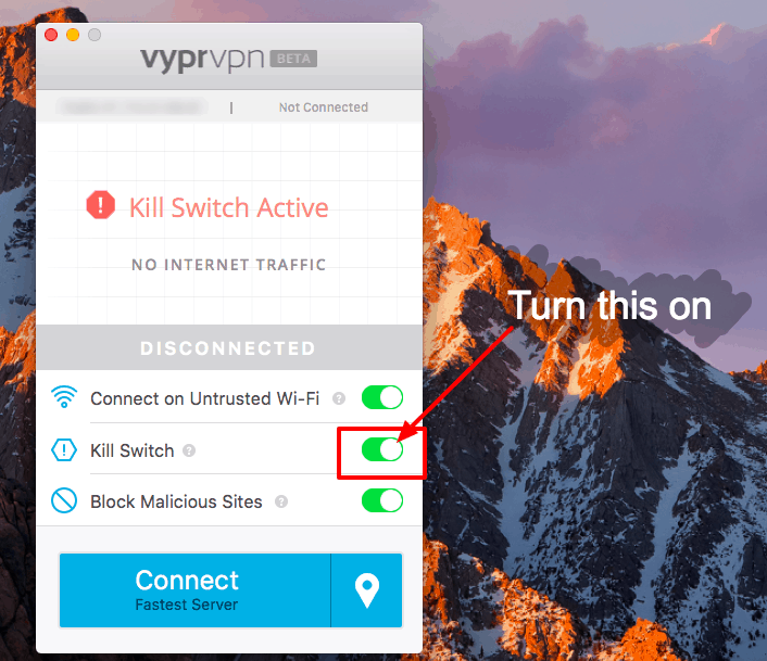 Best VPN for Travel - kill switch on VyprVPN
