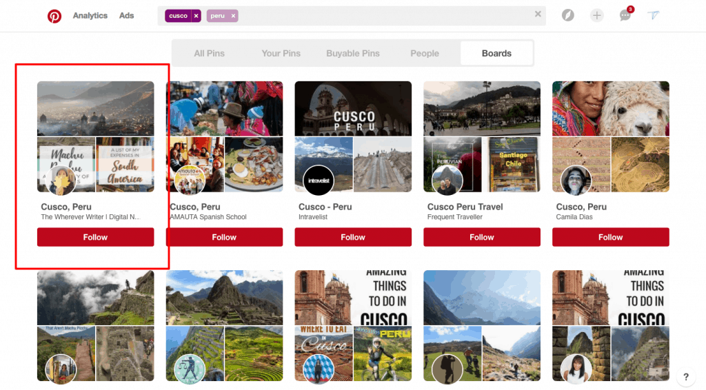 Pinterest Traffic Avalanche Review - Ranking first for Cusco, Peru in Pinterest
