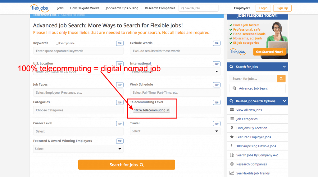 digital nomad jobs - flexjobs