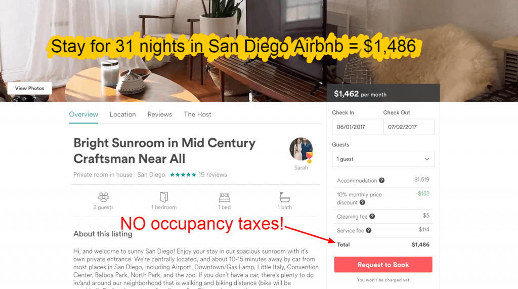 Airbnb tips - 31 days NO occupancy taxes in San Diego