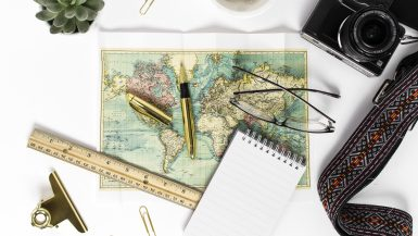 gifts for world travelers - map on desk