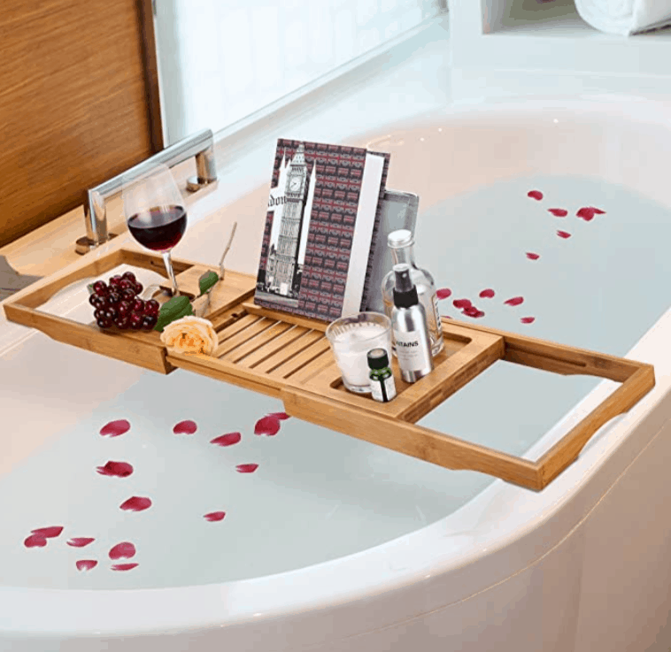 Rose petal image over bath tub
