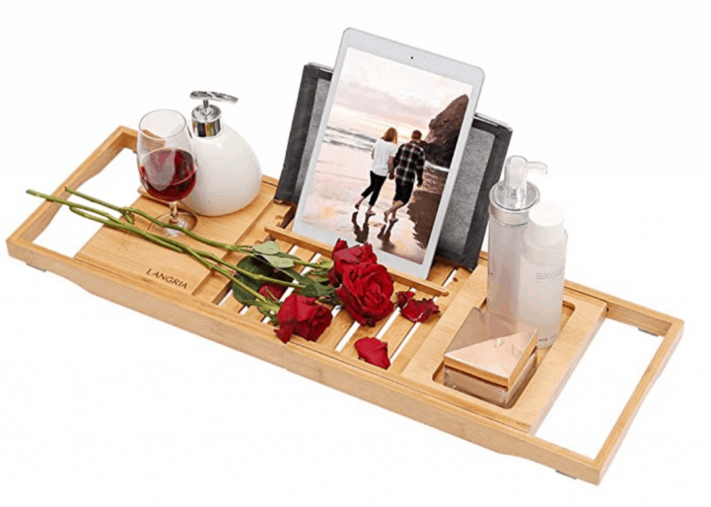 Bathtub tray with ipad, wine and roses