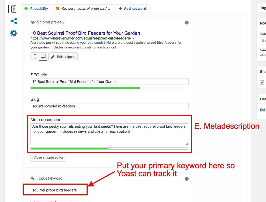 SEO for bloggers - Where to put keywords in your metadescription with Yoast