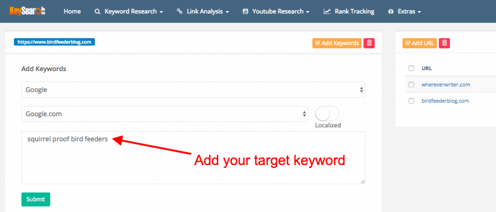 SEO for bloggers - how to track keyword ranking in keysearch