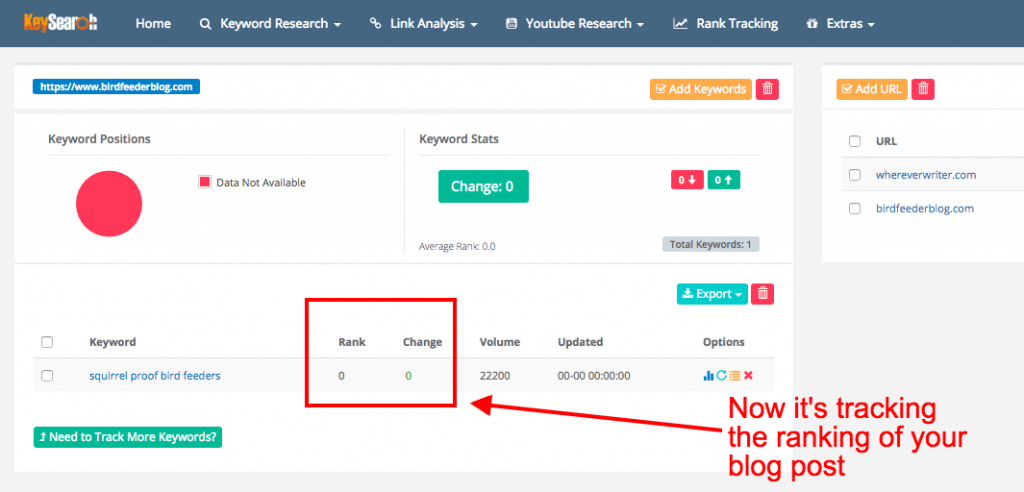 SEO for bloggers - keyword tracking in keysearch