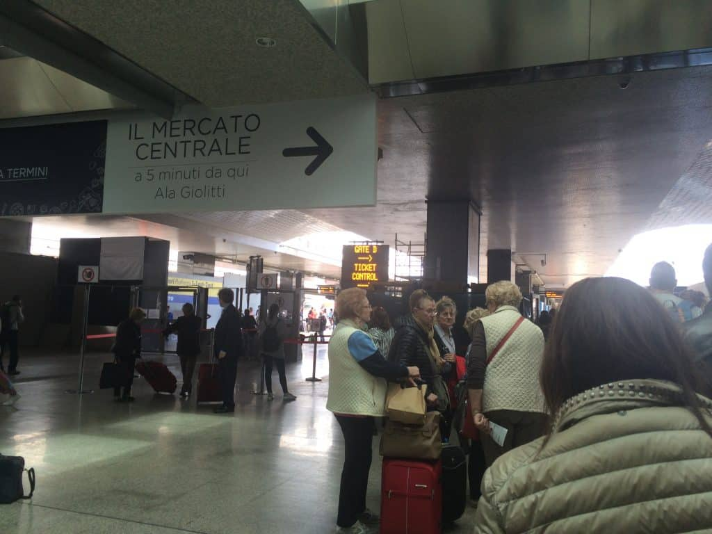 Leonardo Express Airport Train - Inside Momento cafe inside Roma Termini station. Lining up at platform