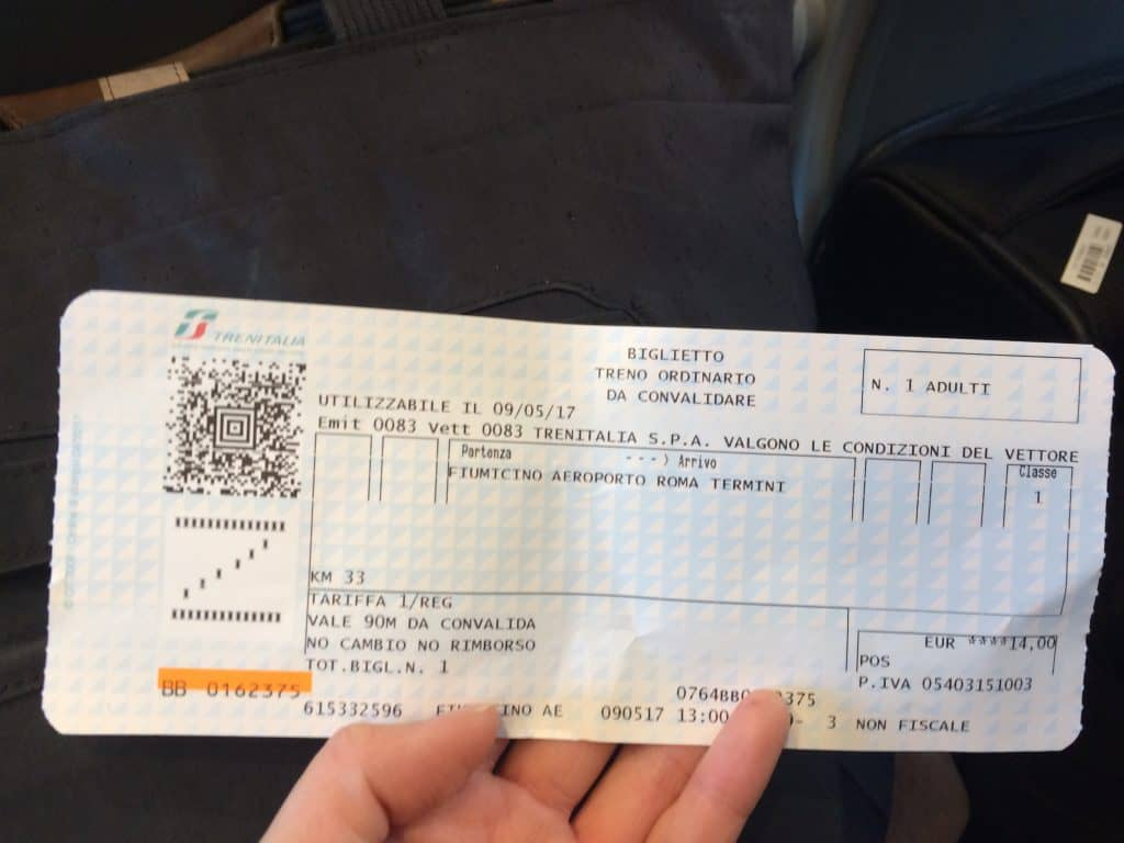 Leonardo Express Airport Train - This is what the ticket looks like when you buy it at the booth