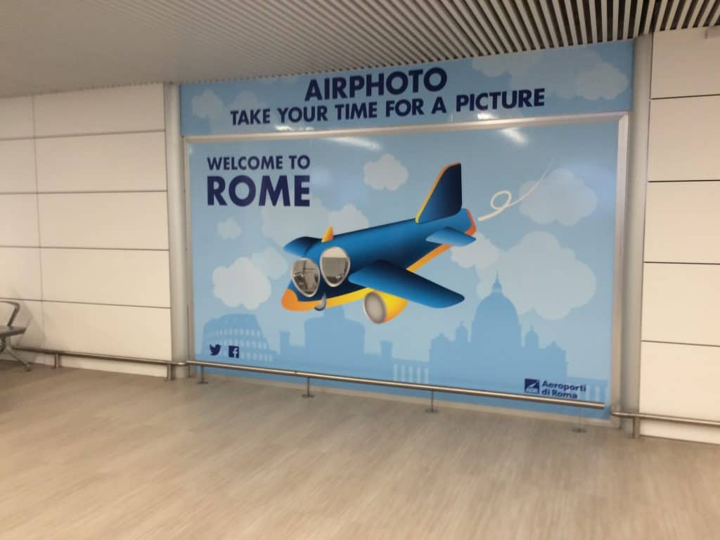 Leonardo Express Airport Train - Welcome to Rome sign
