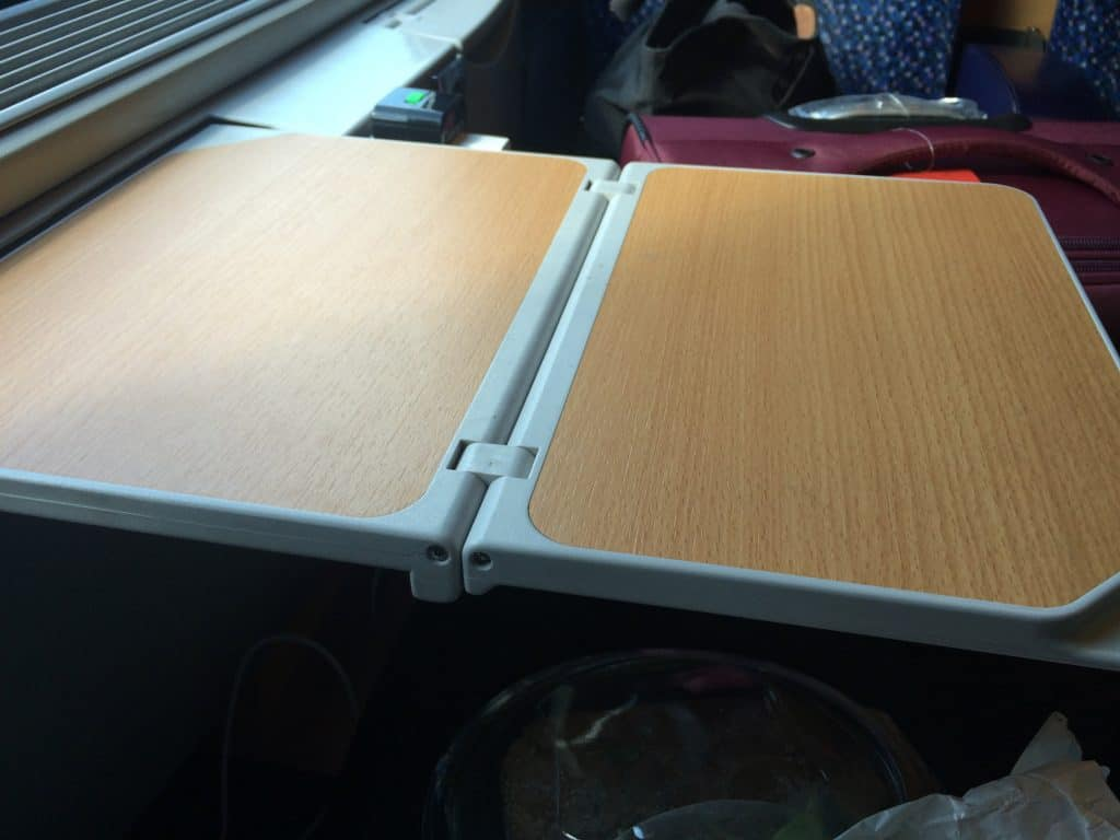 Train from Venice to Salzburg Window table fully extended
