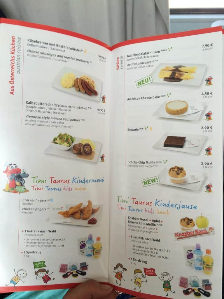 Train from Venice to Salzburg dining cart menu 2
